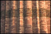 Detail of flutted sandstone, Qutb Minar. New Delhi, India ( color)