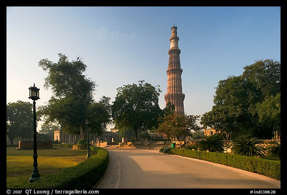 Gardens, and Qutb Minar tower. New Delhi, India (color)