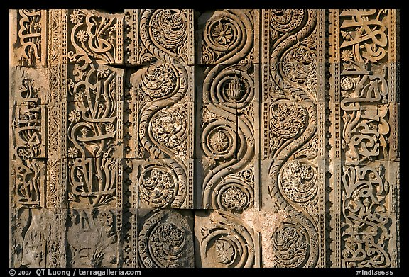 Geometrical patterns with  Floral motifs, Quwwat-ul-Islam mosque, Qutb complex. New Delhi, India