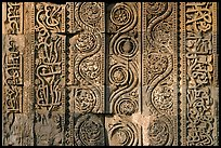 Geometrical patterns with  Floral motifs, Quwwat-ul-Islam mosque, Qutb complex. New Delhi, India ( color)