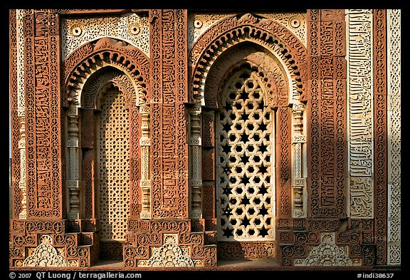 Marble screened windows of Imam Zamin tumb, Qutb complex. New Delhi, India (color)
