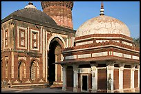 Tomb of Imam Zamin, Alai Darweza gate, and base of  Qutb Minar. New Delhi, India (color)