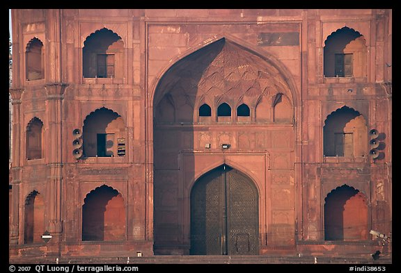 Detail of Jama Masjid East Gate. New Delhi, India (color)