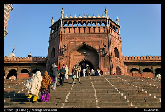 Muslim worshippers climbing  Jama Masjid South Gate. New Delhi, India (color)