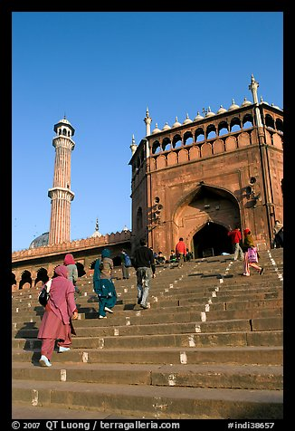 Stairs leading to Jama Masjid South Gate, and minaret. New Delhi, India