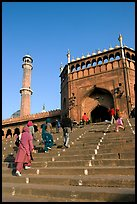 Stairs leading to Jama Masjid South Gate, and minaret. New Delhi, India (color)