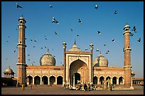 Jama Masjid with pigeons flying. New Delhi, India ( color)