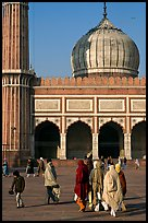 Group of people, courtyard, prayer hall, and dome, Jama Masjid. New Delhi, India (color)