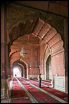 Muslim man in prayer, prayer hall, Jama Masjid. New Delhi, India ( color)