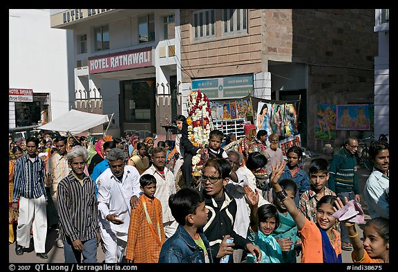 Muslim wedding procession. Jodhpur, Rajasthan, India