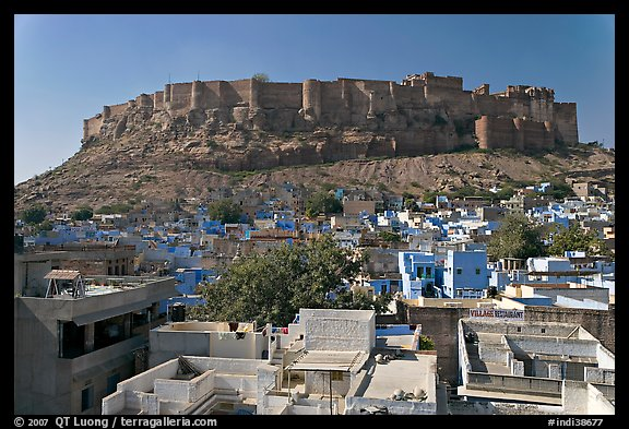 Mehrangarh Fort and city rooftops, afternoon. Jodhpur, Rajasthan, India (color)