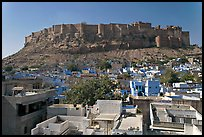 Mehrangarh Fort and city rooftops, afternoon. Jodhpur, Rajasthan, India ( color)