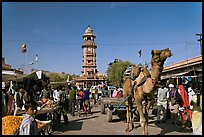 Camel and clock tower in Sardar Market. Jodhpur, Rajasthan, India (color)