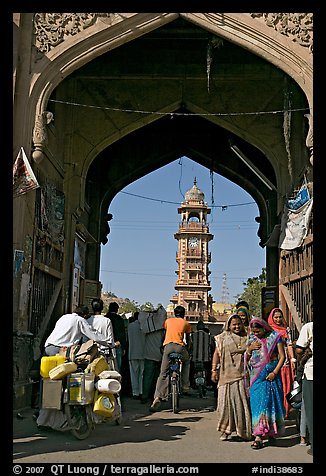 Gate leading to clock tower and Sardar Market. Jodhpur, Rajasthan, India (color)