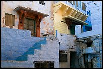 Walls with shades of blue. Jodhpur, Rajasthan, India