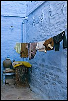 Laundry in alley with whitewashed walls tinted indigo. Jodhpur, Rajasthan, India (color)