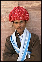 Young man wearing a red turban. Jodhpur, Rajasthan, India
