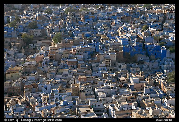 View over a sea of blue houses from Mehrangarh Fort. Jodhpur, Rajasthan, India (color)