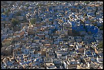 View over a sea of blue houses from Mehrangarh Fort. Jodhpur, Rajasthan, India ( color)