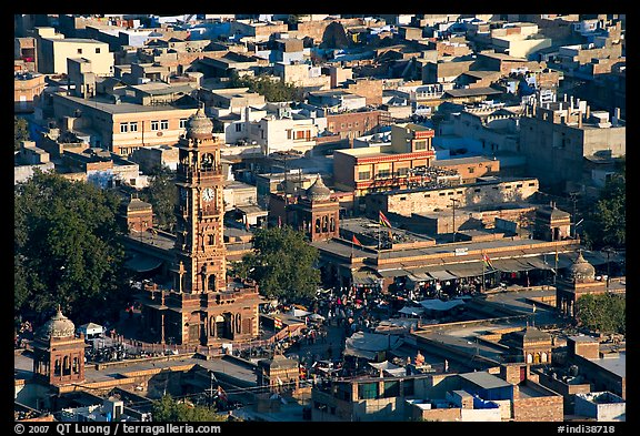 Sardar Market and bell tower seen from above. Jodhpur, Rajasthan, India (color)