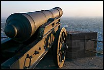 Cannon and old town, Mehrangarh Fort. Jodhpur, Rajasthan, India (color)