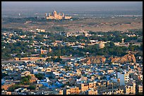 Old town, with Umaid Bhawan Palace in the distance, Mehrangarh Fort. Jodhpur, Rajasthan, India ( color)