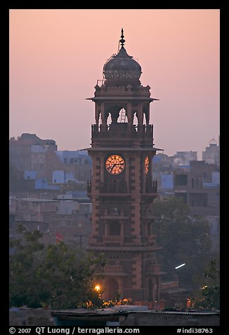 Clock tower at dawn. Jodhpur, Rajasthan, India (color)