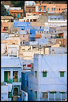Old town houses with various shades of indigo. Jodhpur, Rajasthan, India