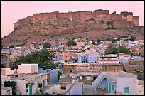 Rooftops and Mehrangarh Fort at dawn. Jodhpur, Rajasthan, India