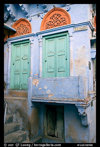 Green doors and blue walls. Jodhpur, Rajasthan, India (color)
