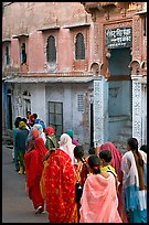 Women walking in a narrow old town street. Jodhpur, Rajasthan, India ( color)