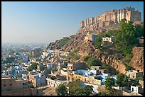 Mehrangarh Fort overlooking the old town, morning. Jodhpur, Rajasthan, India (color)