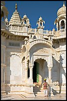 Man with turban standing in front of the entrance of Jaswant Thada. Jodhpur, Rajasthan, India ( color)