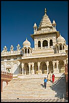 Visitors walking down steps in front of Jaswant Thada. Jodhpur, Rajasthan, India