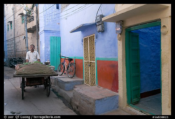 Man with vegetables car in front of painted house. Jodhpur, Rajasthan, India
