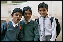 Schoolboys in uniform. Jodhpur, Rajasthan, India (color)