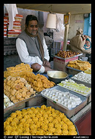 Man selling sweets and pastries. Jodhpur, Rajasthan, India (color)
