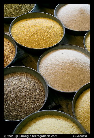 Grains in cicular containers, Sardar market. Jodhpur, Rajasthan, India