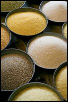 Grains in cicular containers, Sardar market. Jodhpur, Rajasthan, India (color)