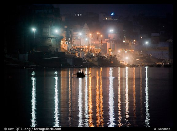 Ganges River at night with Ghat lights  reflected. Varanasi, Uttar Pradesh, India