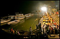 Evening aarti on the banks of the Ganges River. Varanasi, Uttar Pradesh, India ( color)