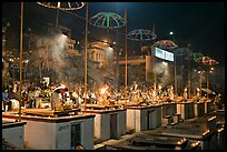 Evening arti ceremony at Dasaswamedh Ghat. Varanasi, Uttar Pradesh, India (color)