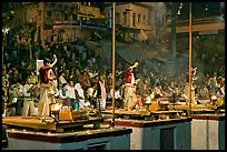 Brahmans performing evening arti ceremony. Varanasi, Uttar Pradesh, India ( color)