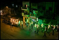 Street wedding procession bright lights seen from above. Varanasi, Uttar Pradesh, India (color)
