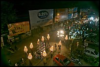 Wedding procession seen from above at night. Varanasi, Uttar Pradesh, India (color)