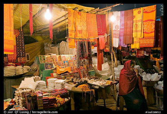 Vendor near Dasaswamedh Ghat at night. Varanasi, Uttar Pradesh, India (color)