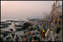 Steps of Dasaswamedh Ghat with crowd at sunrise. Varanasi, Uttar Pradesh, India