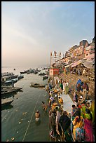 People worshipping Ganges River, early morning. Varanasi, Uttar Pradesh, India