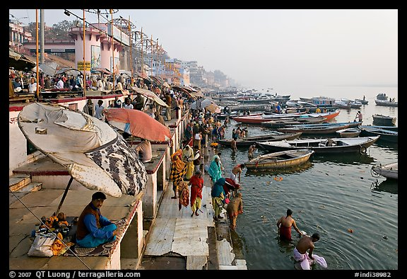 Dasaswamedh Ghat and Ganges River, sunrise. Varanasi, Uttar Pradesh, India (color)