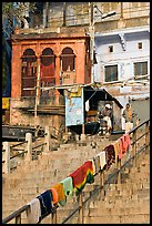 Laundry on hand-rail of ghat steps. Varanasi, Uttar Pradesh, India ( color)